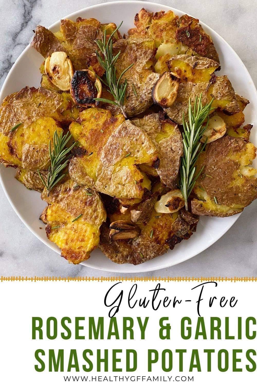 Crispy Roasted Smashed Potatoes Rosemary Garlic Easy Recipe #glutenfreerecipes www.healthygffamily.com